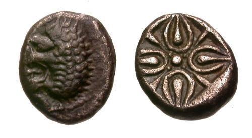 Ancient Coins - EF/EF Satraps of Caria Hekatomnos AR Obol / Lion