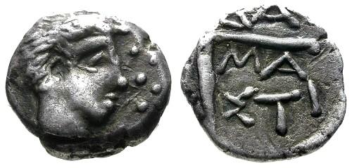 Ancient Coins - VF/VF Danubian Imitative AR Tetrobol Illyro Paeonian Damastion / Pick Axe RRR