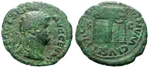 Ancient Coins - F/F Nero AE AS / Temple of janus