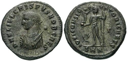 Ancient Coins - EF/EF Crispus AE Fully silvered / Jupiter