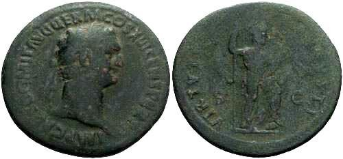 Ancient Coins - F/F Domitian AS / Virtus