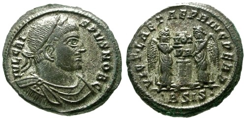 Ancient Coins - VF/VF Crispus AE3 / Two Victories