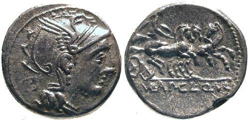 Ancient Coins - 110-109 BC / VF/VF Claudia 2 Roman Republic Denarius / Victory in Triga
