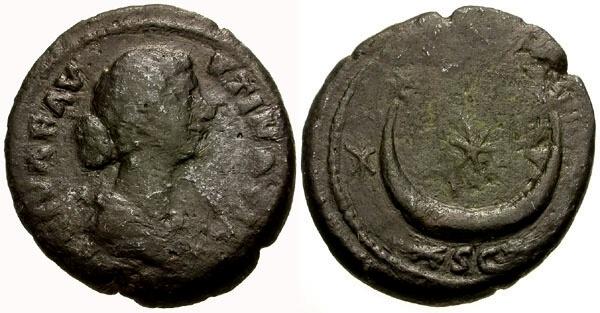 Ancient Coins - gF+/gF+ Faustina II Æ As / Crescent and Stars