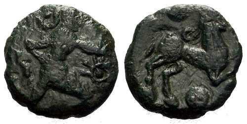 Ancient Coins - VF/VF Bellovaci Bronze / Running Cubist