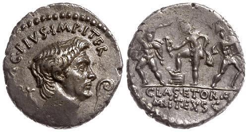 Ancient Coins - 42-40 BC EF/EF Pompeia 27 Roman Republic AR Denarius of Pompey the Great