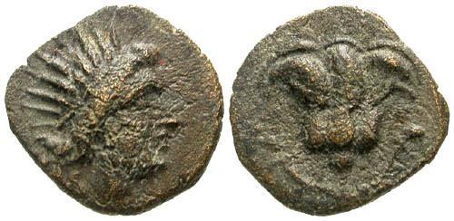 Ancient Coins - VF/VF Caria Rhodes AE13 / Rose