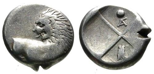 Ancient Coins - VF/gF Thrace Cherronesos AR Hemidrachm / Lion and Cicada