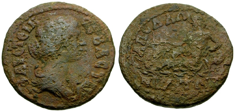 Ancient Coins - Faustina II Mysia, Apollonia ad Rhyndacum Æ23 / River god