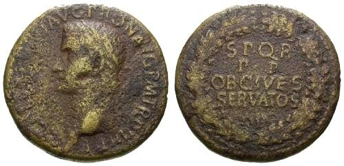 Ancient Coins - gF/gF Caligula AE Sestertius / Wreath