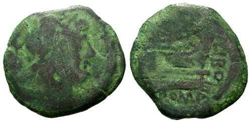 Ancient Coins - F/F 148 BC Republic AE Semis / Q Marcius Libo / Green Patina