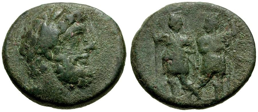 Ancient Coins - Syria.  Coele-Syria, Chalkis ad Libanon.  Ptolemaios as Tetrarch Æ21 / Dioscuri