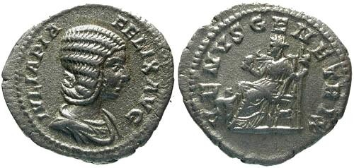 Ancient Coins - VF/VF Julia Domna Denarius / Venus