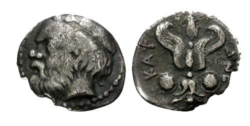 Ancient Coins - aVF/aVF Sicily Catana AR Litra / Silenus / Thunderbolt