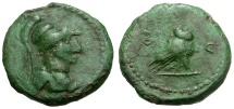 Ancient Coins - Roman Empire.  Anonymous.  Imitative Æ Quadrans / S - C / Owl