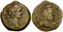 Domitian. Egypt. Alexandria Æ Diobol / Bust of Serapis
