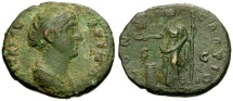 Ancient Coins - gF+/gF+ Diva Faustina I Æ AS / Vesta Sacrificing
