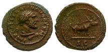 Ancient Coins - EF/VF Trajan Æ Quadrans / Boar