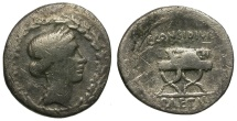 Ancient Coins - 46 BC - Roman Republic. C. Considius AR Denarius / Curule Chair