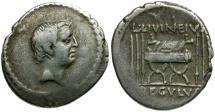 Ancient Coins - 42 BC - Roman Republic. L. Livineius Regulus AR Denarius / Curule Chair