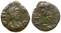 Ancient Coins - Leo I Æ4 / Emperor with Captive