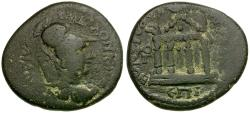 Ancient Coins - Lydia. Sardes. Pseudo-autonomous. Marcellus to b and Ti Klau Phileinos strategos Æ18 / Temple