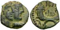 Ancient Coins - Arabia. Nabataean Kings. Rabbel II and Gamilath Æ17 / Crossed Cornucopiae
