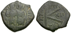 Ancient Coins - Byzantine Empire.  Justin II and Sophia Æ Half Follis