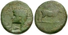 Ancient Coins - Claudius. Mysia. Parium Æ16 / Capricorn Counterstamp