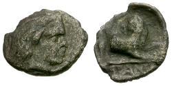 Ancient Coins - aVF/aVF Cimmerian Bosporus, Pantikapaion AR Hemiobol / Satyr / Lion