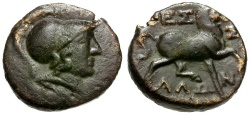 Ancient Coins - Thessaly.  Thessalian League Æ16 / Athena and Horse