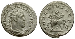 Ancient Coins - Philip I AR Antoninianus / Emperor on Horseback