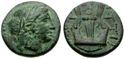 Ancient Coins - Macedon. Bottiaiai Æ15 / Kithara