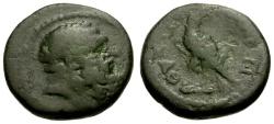 Ancient Coins - gF/gF Lydia, Thyatira Autonomous Issue Æ15 / Herakles / Eagle