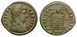 Ancient Coins - VF/VF Crispus Caesar Æ3 / Camp Gate