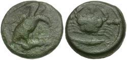 Ancient Coins - Sicily. Akragas Æ Hexas / Crab