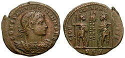 Ancient Coins - Constantine II as Caesar Æ3 / Two Soldiers and Standards