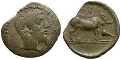 Ancient Coins - Sicily. Abakainon AR Litra / Boar