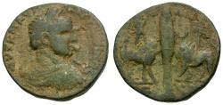 Ancient Coins - Elagabalus. Phoenicia. Arados Æ27 / Cypress Between Bull and Lion
