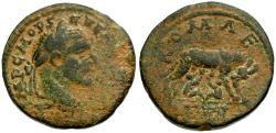 Ancient Coins - Macrinus. Seleucis and Pieria. Laodicea ad Mare Æ29 / Wolf and Twins