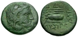 Ancient Coins - Thrace.  Lysimacheia Æ17 / Herakles and Nike