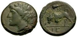 Ancient Coins - VF/VF Sicily, Syracuse, Hieron II Æ17 / Bull