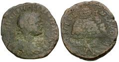 Ancient Coins - Philip II (AD 247-249). Samaria. Neapolis Æ27 / Temple Complex