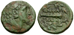 Ancient Coins - Macedon. Amphaxitis Æ22 / Club in Wreath