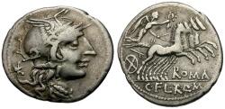 Ancient Coins - 118-117 BC - Roman Republic.  Q. Marcius, C. Fabius and L. Roscius AR Denarius / Victory in Quadriga