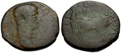 Ancient Coins - Trajan, Phoenicia, Berytus Æ27 / Colonist Ploughing