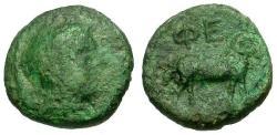 Ancient Coins - gF/aVF Peloponnesos, Arkadia Pheneos Æ Chalkous / Hermes / Ram