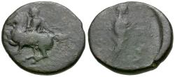 Ancient Coins - Thessaly. Pelinna Æ17 / Mantho
