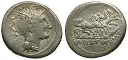 Ancient Coins - 111-110 BC - Roman Republic. Appius Claudius Pulcher, T. Manlius Mancius, and Q. Urbinius AR Denarius / Unique!