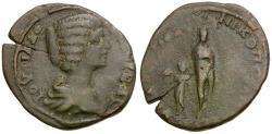 Ancient Coins - Julia Domna (AD 193-217). Moesia Inferior. Nikopolis ad Istrum Æ26 / Aphrodite & Eros